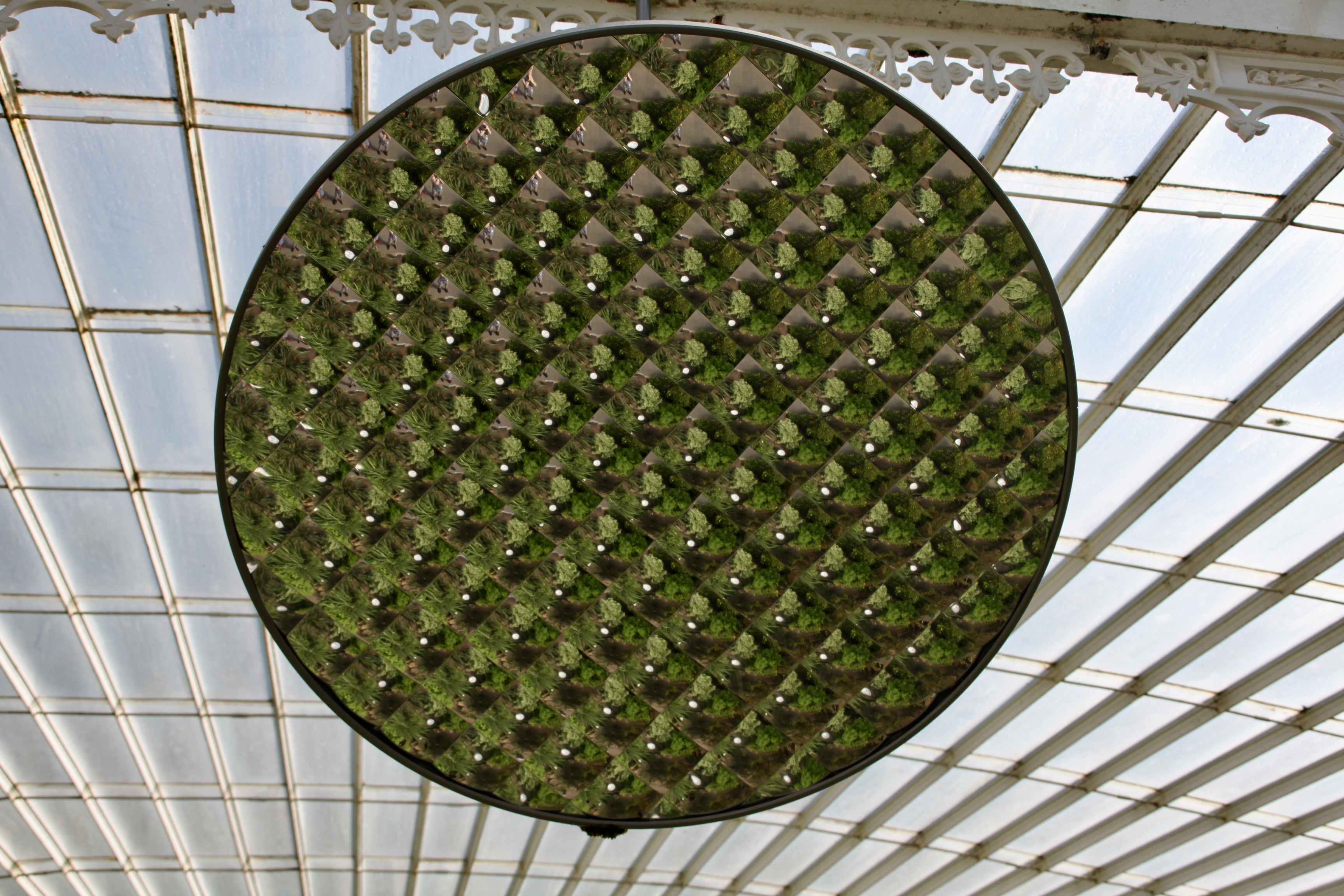 Large multi faceted mirror in Kibble Palace, Glasgow Botanic Gardens, by Jez Braithwaite