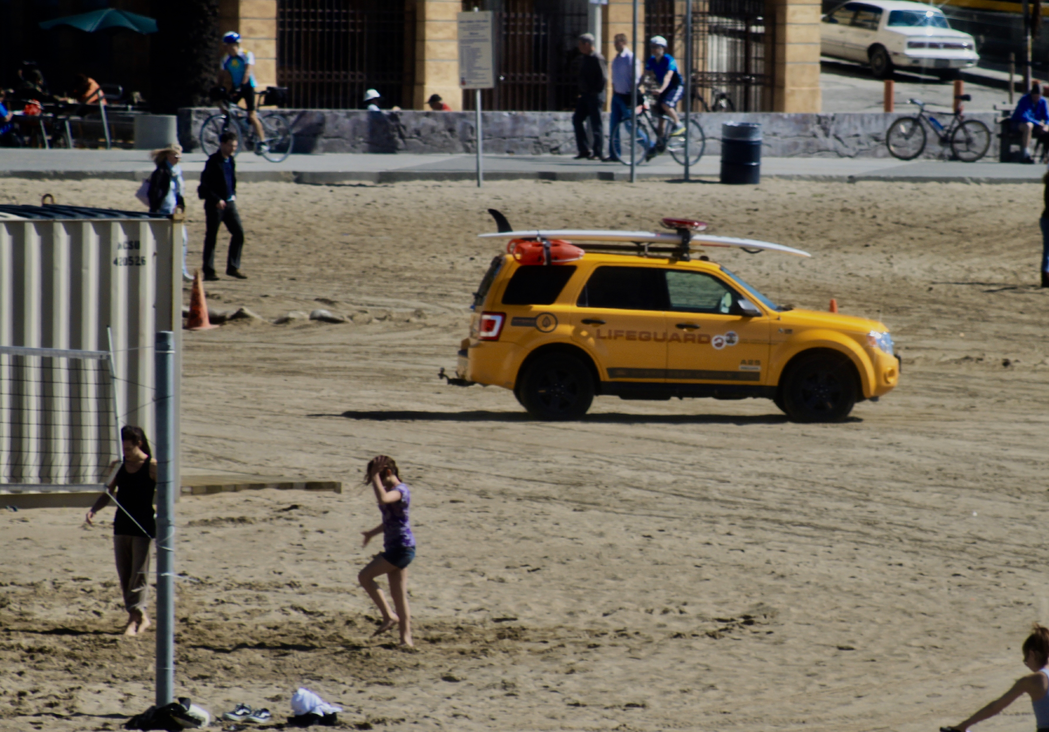 Lifeguard vehicle on Santa Monica Beach