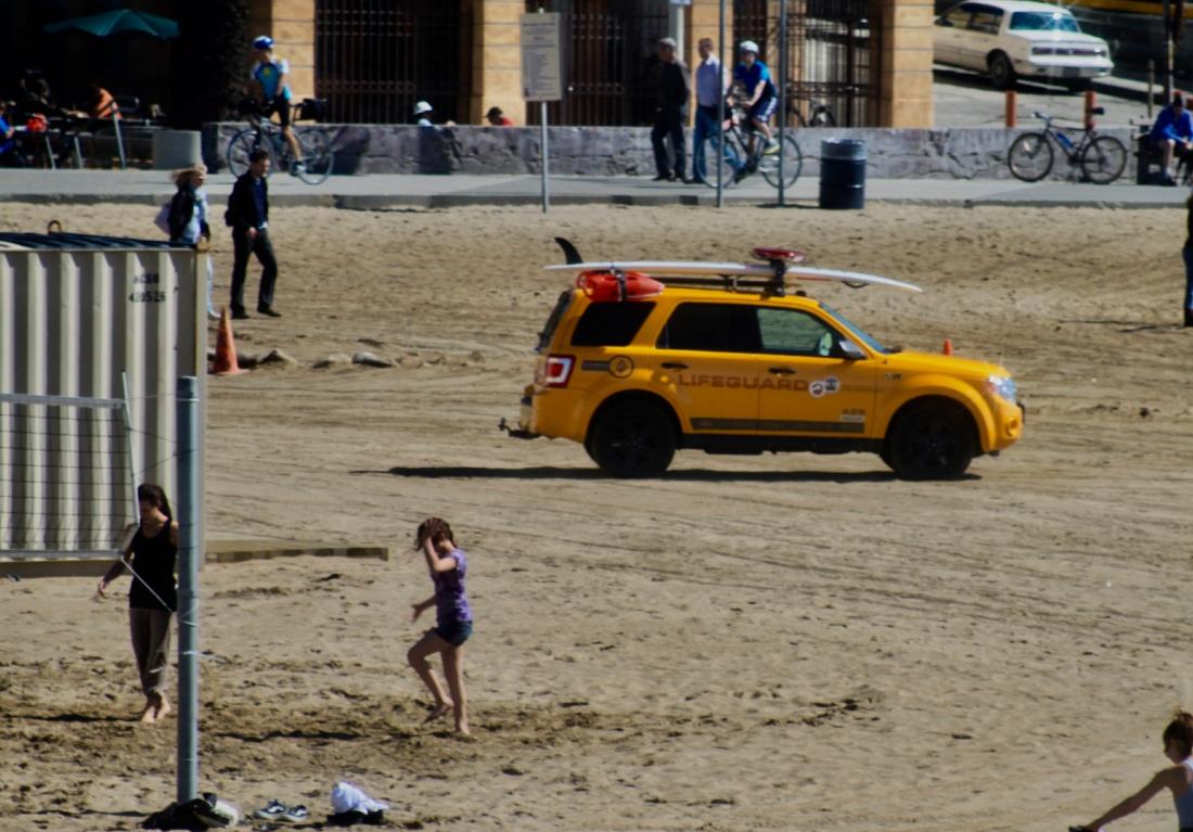 Lifeguard vehicle on Santa Monica Beach