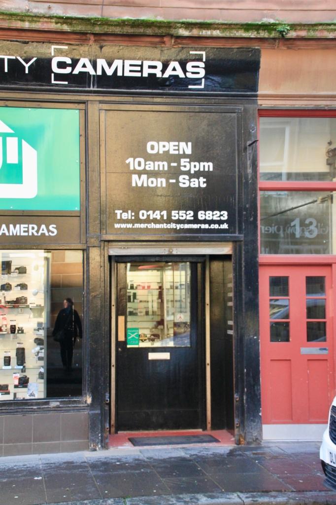 Camera shop door