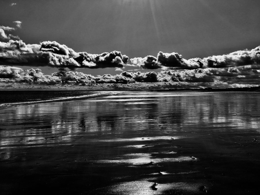 Arbroath Beach in monochrome