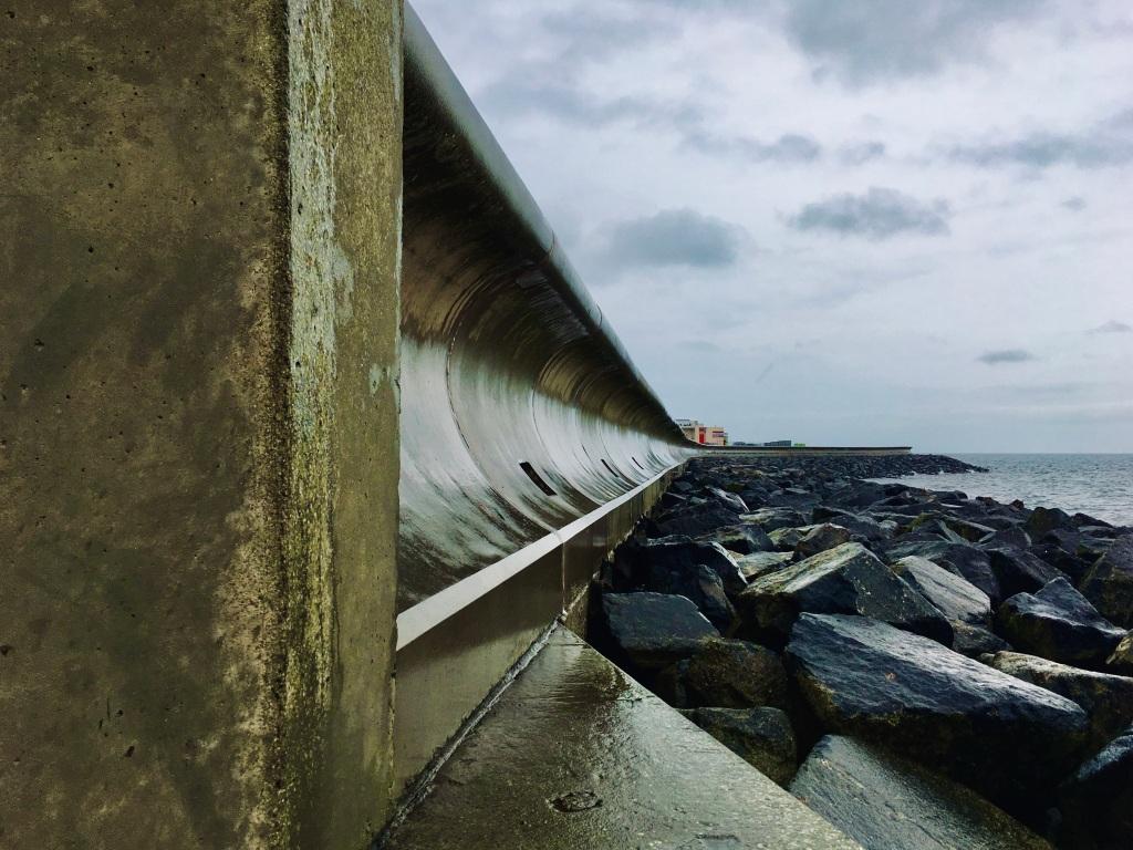 Arbroath beach sea wall