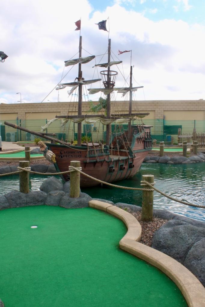 Pirate ship at crazy golf course
